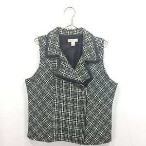 Christopher & Banks L Large Vest Black White Tweed